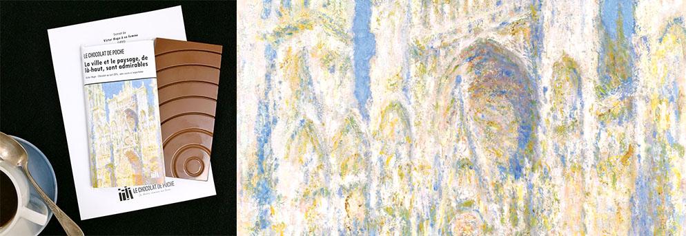 Monet Cathédrale de Rouen ensoleillée Le Chocolat de poche lait sans sucre ajouté ni aspartame